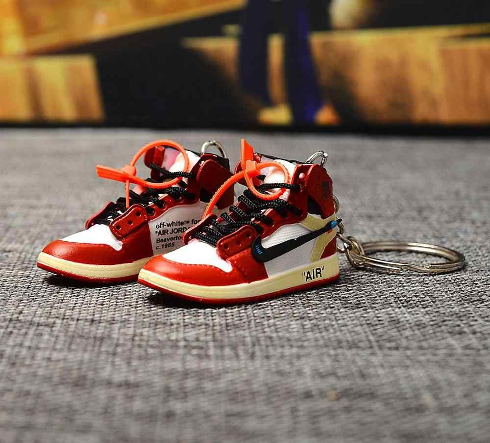 dropshipping aj1 offwhite Chicago Unc sneaker keychain Air Jordan 1 3D Mini Sneaker Banned  Sports shoe Sneaker keychains