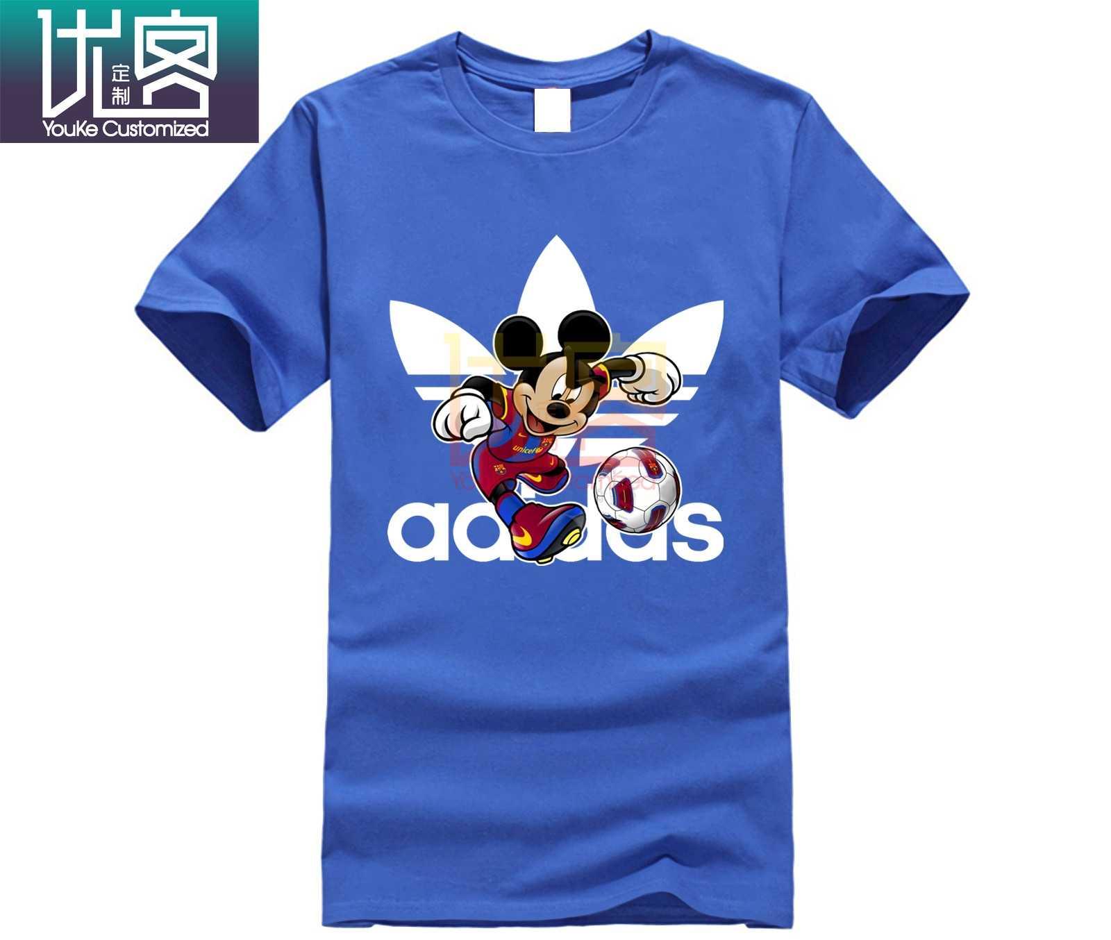 """Мужские addidas """"ниикэ"""" Barcelona Football Микки одежды с принтом из мультфильма Disney спортивный логотип футболки красивый принт «Микки Маус» для мужские укороченные брюки из хлопка"""