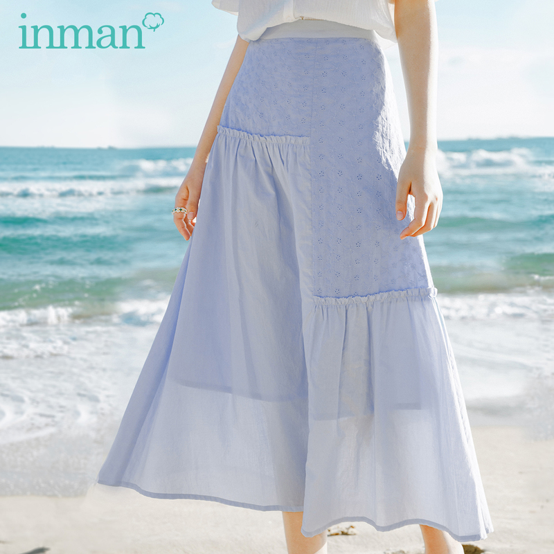 INMAN 2020 Summer New Arrival Girlish Pure Cotton Splicing Double-deck Leisure Skirt