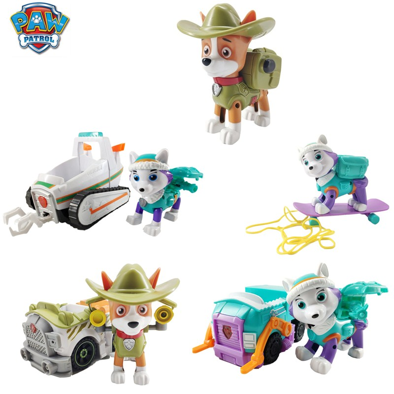 Paw Patrol Dog Everest Tracker Jungle Rescue Car Music Patrol Ski Car Anime Character Action Model Toy Collection Best Gift