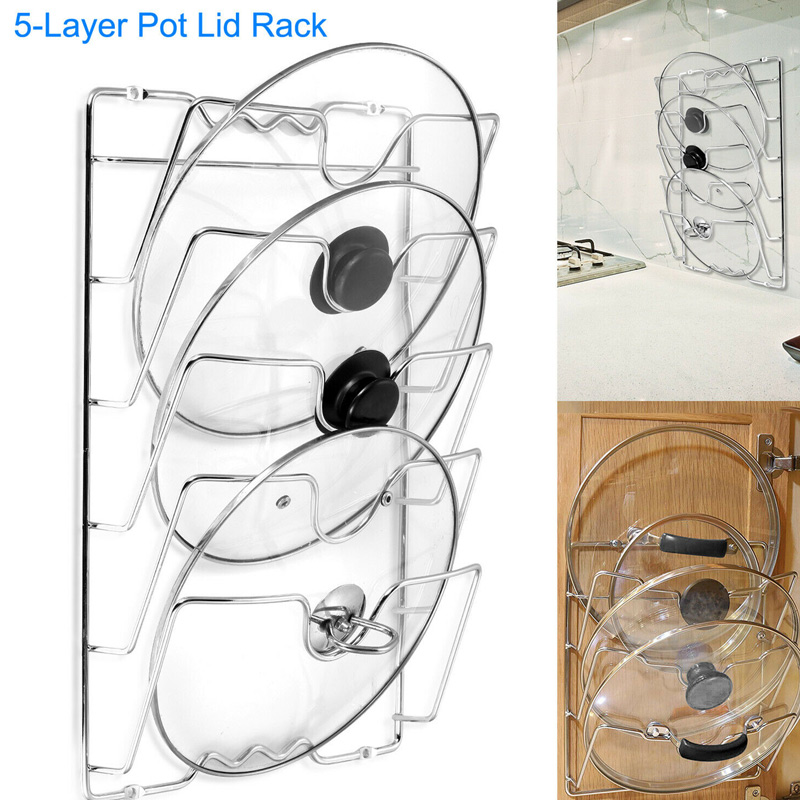 Newly Pan Lid Storage Rack Wall Mount Pot Cover Organizer Holder Kitchen Accessories XSD88