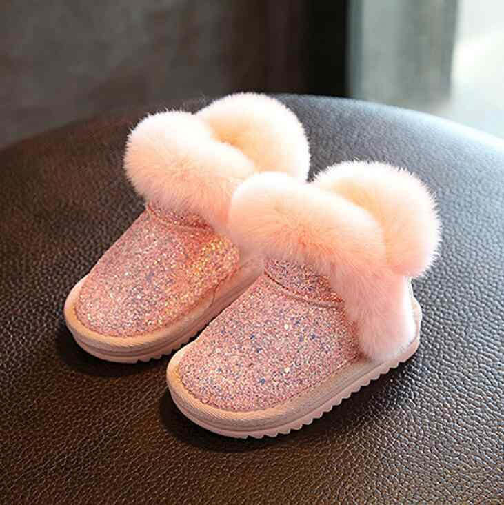 Модная обувь с верхом, расшитым пайетками, детская обувь для девочек 2019 отлично согреет Вас Зимние сапоги до середины икры с натуральным мехом для детей сапоги для малышей Одежда для маленьких