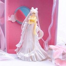Figura de acción japonesa de anime15 cm, vestido de Sailor Moon, Reina, vestido de boda de PVC, juguetes de modelos de colección para regalo de Año Nuevo