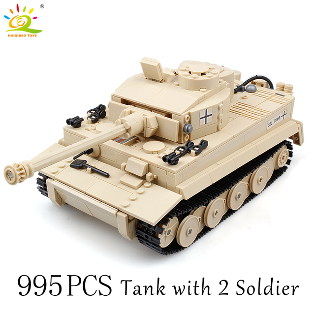 HUIQIBAO Military German Tiger Tank classic Model Building Blocks with 2 WW2 Army Soldier Bricks Construction Toys for children