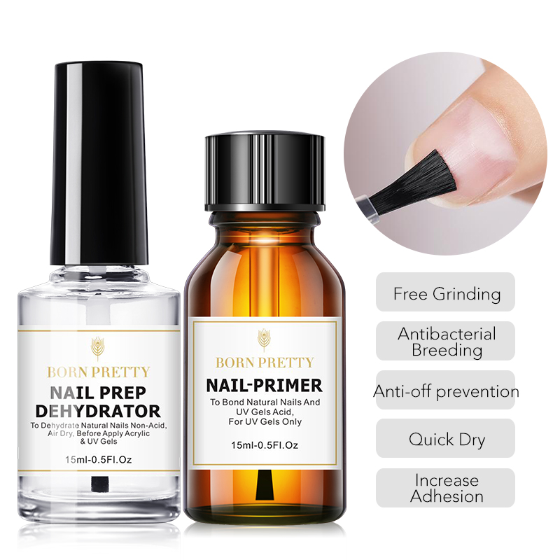 BORN PRETTY 15ML Nail-Primer Nail Prep Dehydrator Set UV Gel System Manicuring Tips Fast Dry Nail Art Tools 6ml Base Top Coat