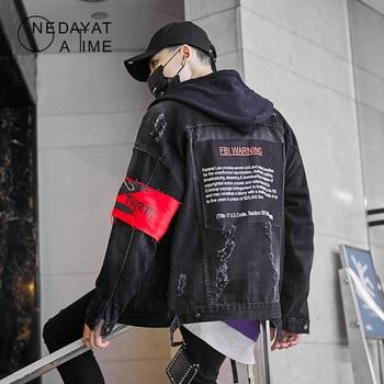 Men Black Ripped Hole Destroyed Denim Jackets Sleeve Tie Dye Casual Jeans Jacket Coats Hip Hop Streetwear Mens Punk Rock Outwear