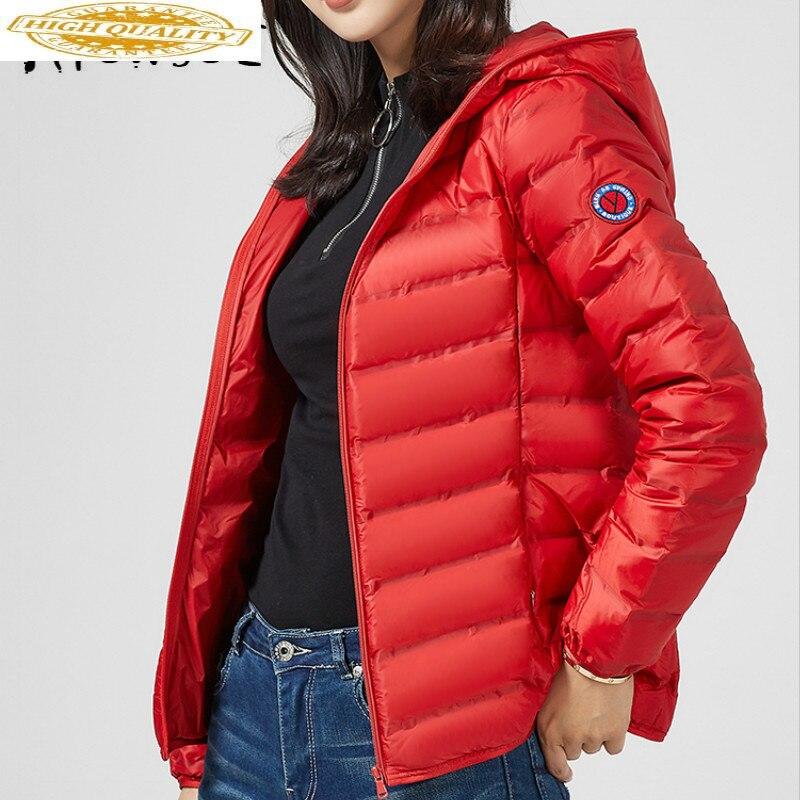 Ultra Light Puffer Jacket Women 90% White Duck Down Coat Women Jacket Hooded Down Jacket Veste Femme YE61U1910- YY1580