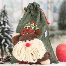 Christmas linen drawstring gift bag large candy bag