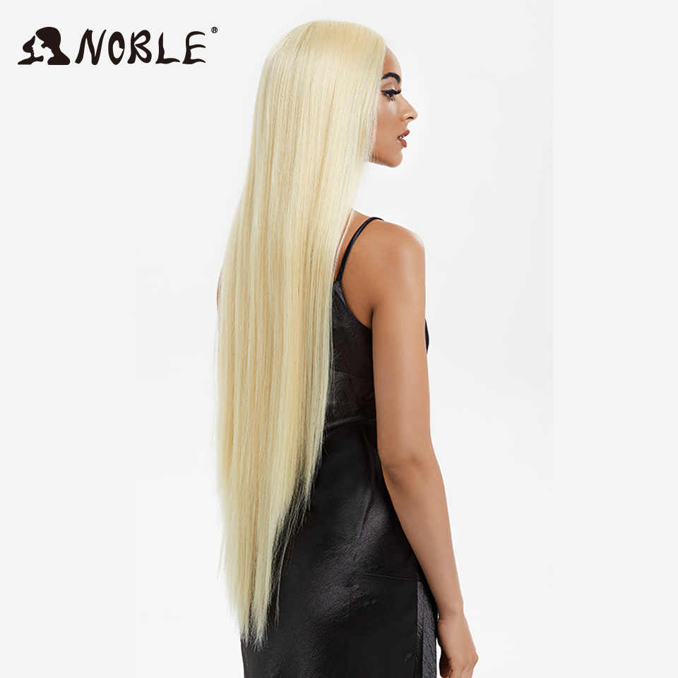 Szlachetny Cosplay peruki dla czarnych kobiet długie proste syntetyczna koronka peruka Front 38 Cal 613 peruka blond peruka syntetyczna koronka peruka Front