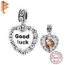 BELAWANG 925 стерлингового серебра сердце удача талисманы бусины для Fit браслет ожерелье DIY настроить фото персонализированные ювелирные изделия