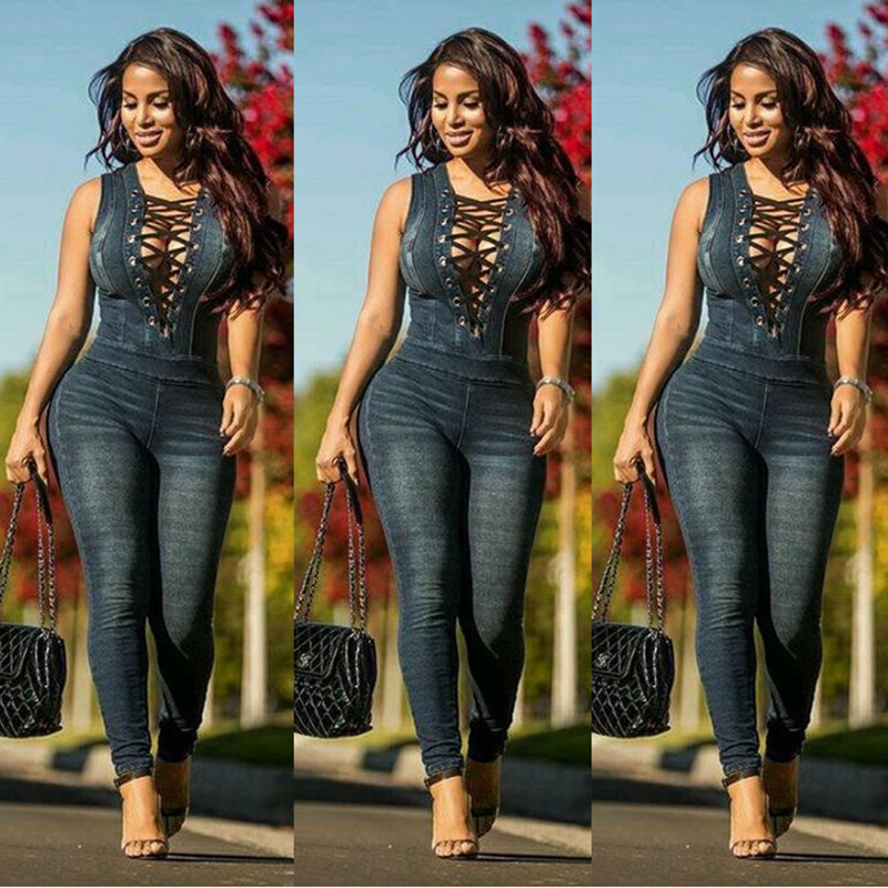 New Style Plus Size Denim   Rompers   Overalls Women Skinny Jeans Sexy Blue Lace-up V Neck Sleeveless Denim Jumpsuits Bodysuit 2020