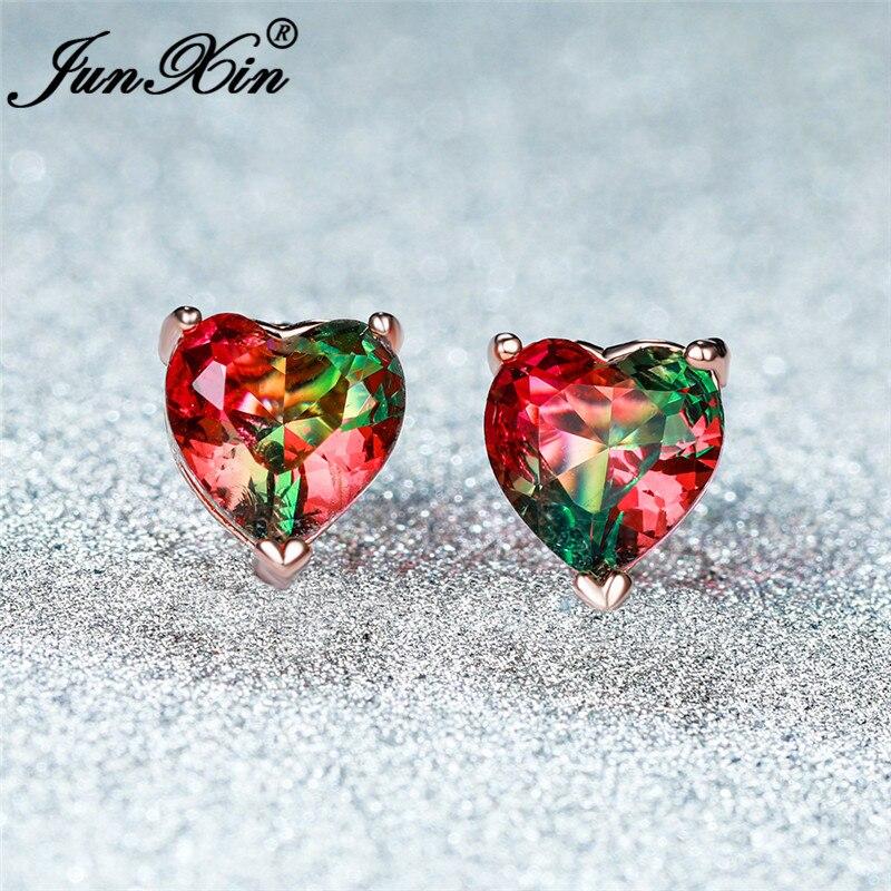 Two Tone Red Green Stone Cute Heart Earrings White Gold Rose Gold Rainbow Crystal Wedding Stud Earrings For Women Zircon Jewelry