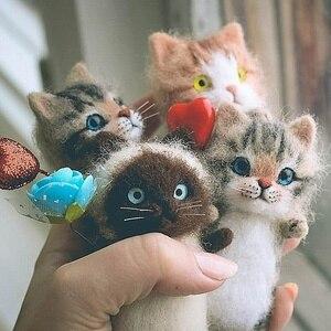 Easy Cute DIY Toys Wool Felt Cat Unfinished Plush Doll Felt Animal Handmade Toy Kits Fox DIY Material Package Unique Girls Gift