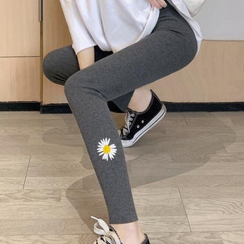 Little Daisy Leggings women wear spring and autumn thread new summer thin thin thin high waist nine point grey net red pants image
