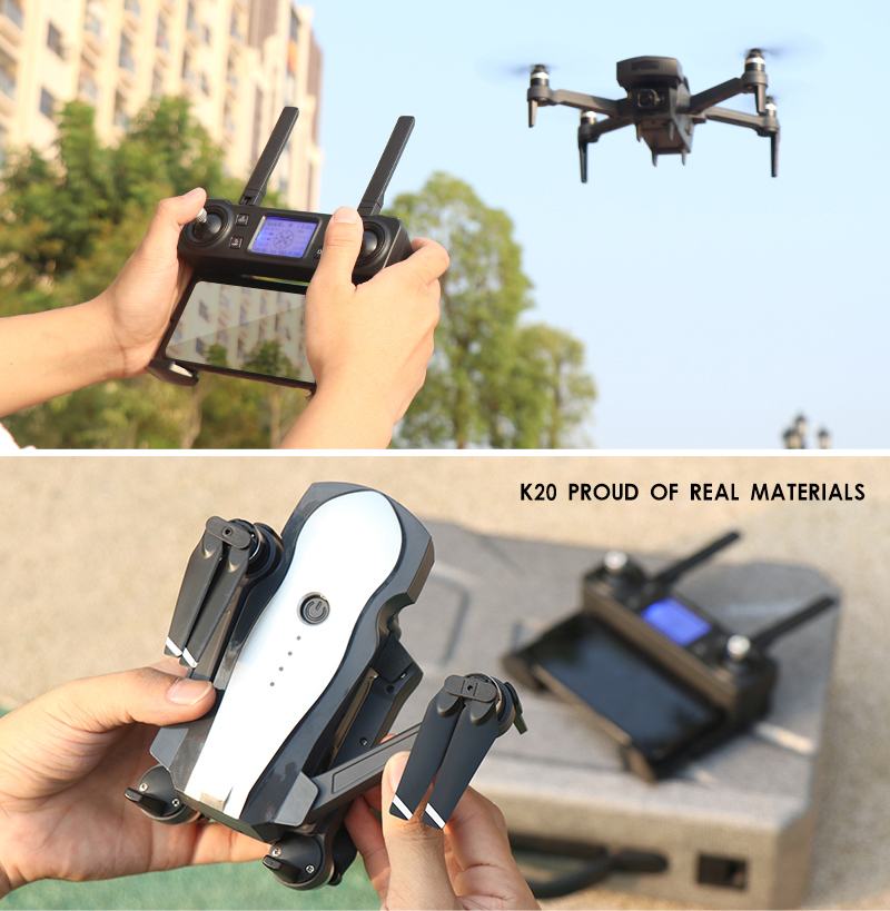 τCloseout DealsDrone K20 Foldable Quadcopter Remote-Control Dual-Camera Brushless-Motor with GPS And
