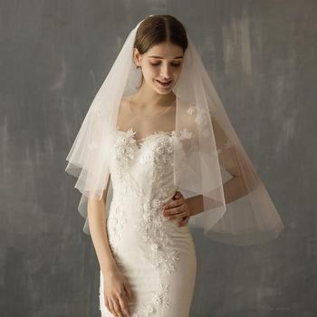 White, Beige wedding veils Short bridal veil with Comb New Arrival Free Shipping 2020 Wedding Veils Soft Tulle