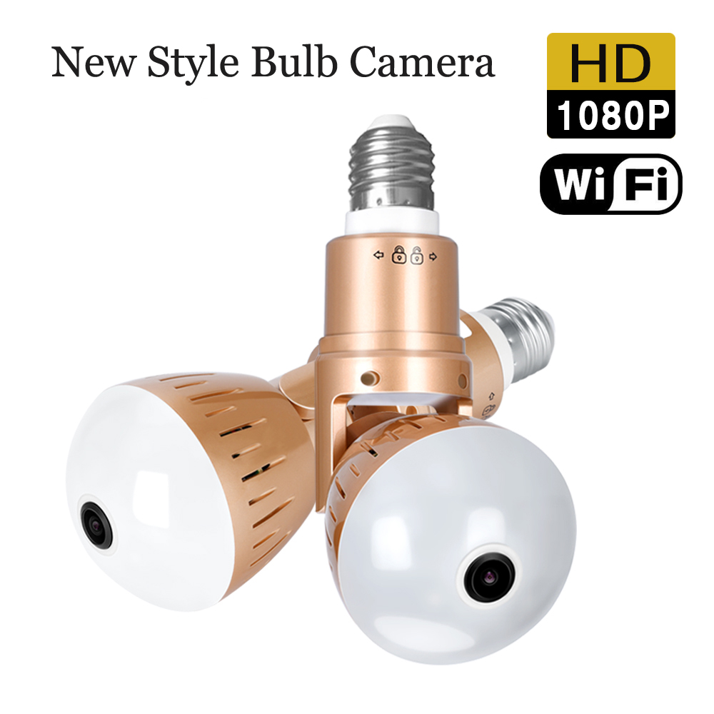 Camera Bulb Lamp Home Security Panoramic 1080P FishEye CCTV Infrared And White Light APP Control Wireless IP Camera P2P Cam
