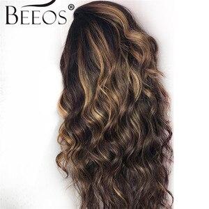 """Image 3 - Beeos высокое соотношение 4*4 Кружева Закрытие человеческих волос парик объемная волна цвет волос 180% бразильские волосы Remy 8 """" 26"""""""