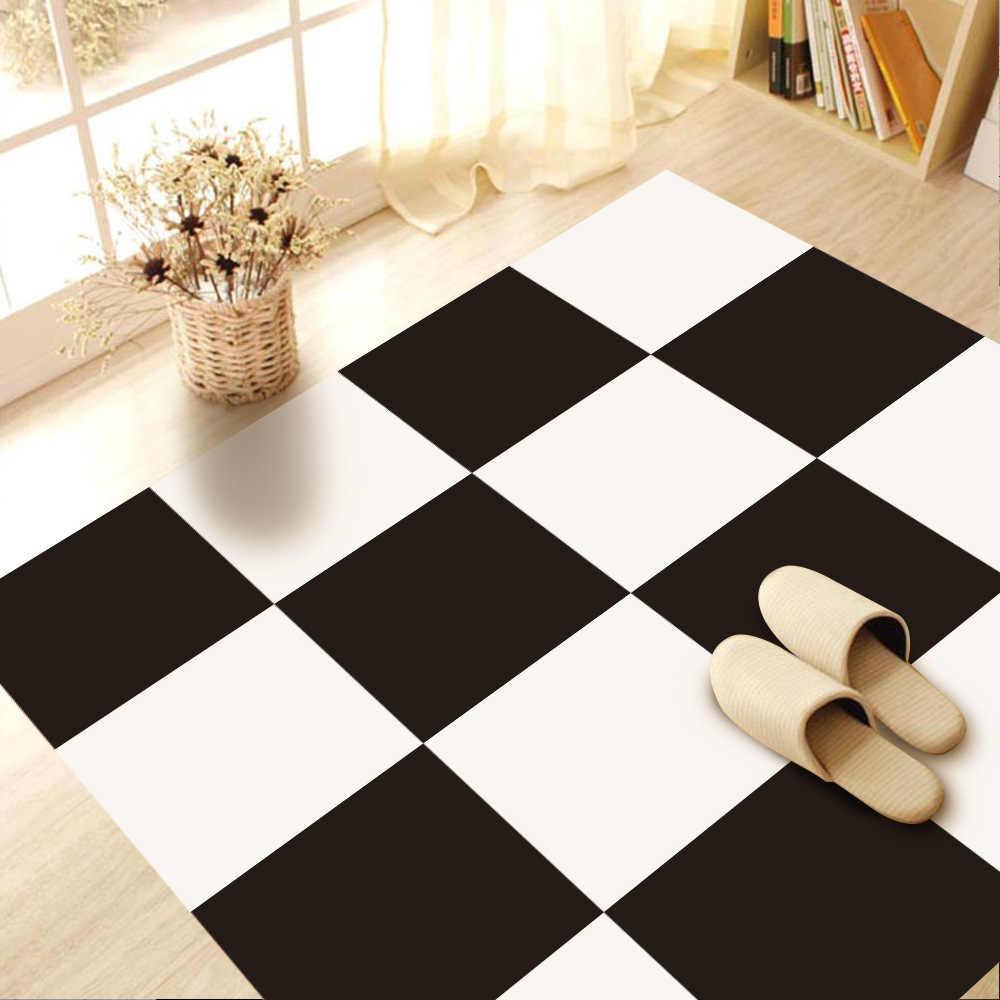 - Black White Checkered Waterproof Wall Floor Tiles Sticker Self