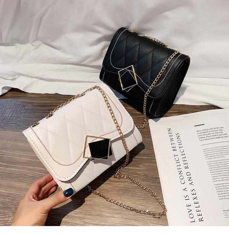 Fashion Women Brand Design Small Square Shoulder chain Bag Clear PU Composite Messenger Bags New Female Handbags