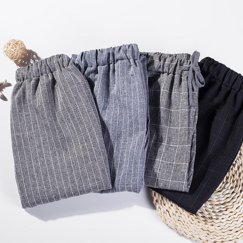 Cotton Linen Autumn Summer Casual Trousers Female Thin Ankle Length Harem Plaid Pants Women Harajuku New Fashion