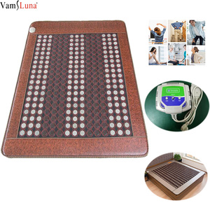 Jadeit do masażu mata terapia w dalekiej podczerwieni podgrzewane łóżko naturalne Jade turmalin Pad kamień materac grzewczy regulacja temperatury