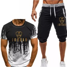 Summer Hot Sale Men's Sets T Shirts+Shorts Two Pieces Print Sets Casual Tracksuit Male 2021Casual Tshirts Men Tops