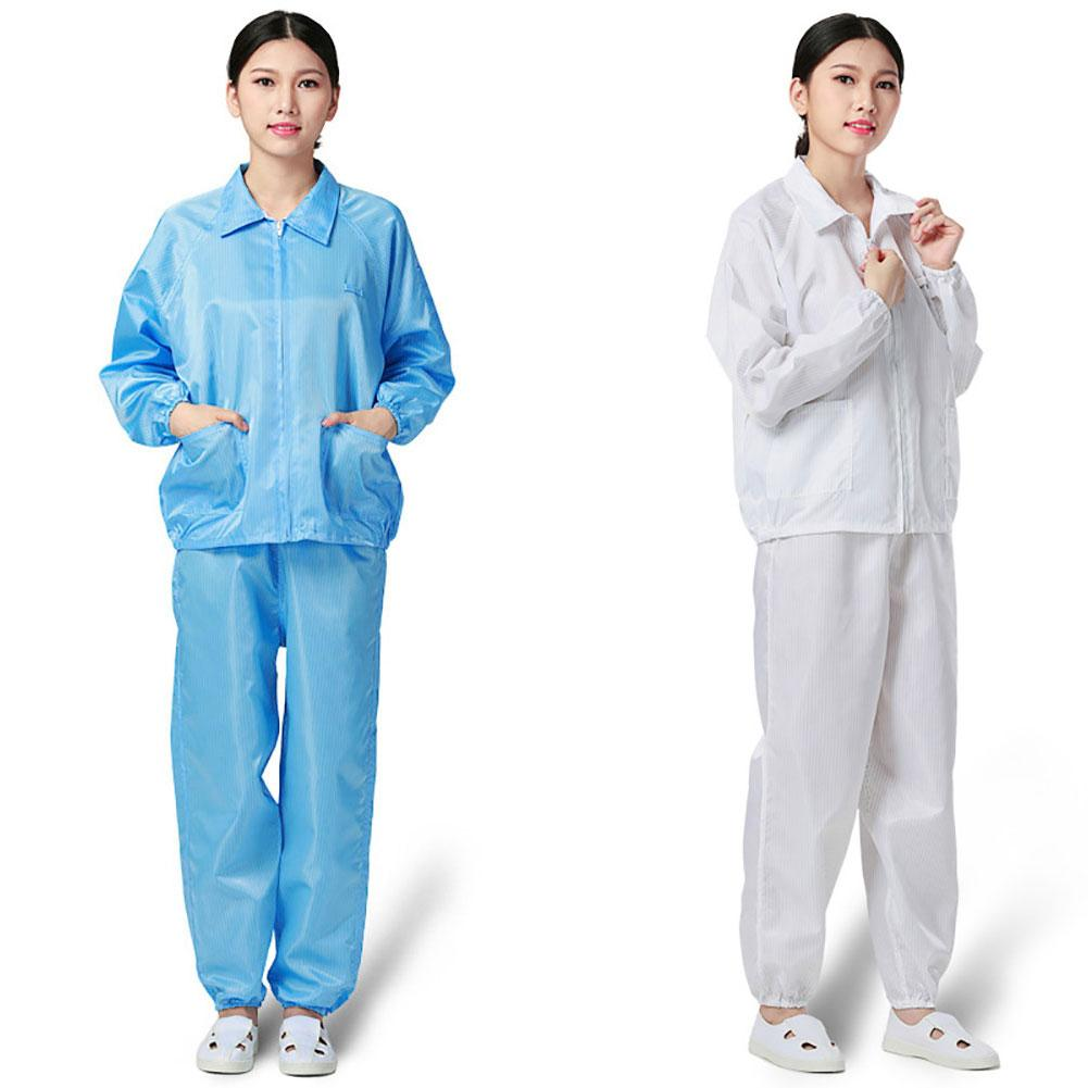 Unisex Anti Static Dustproof Zipper Jacket Long Pants Safety Protective Suit Set Wind And Dust Resistance Against Viruses