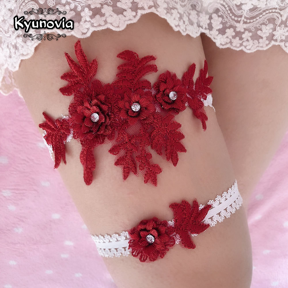 Kyunovia Rhinestone Embroidery Flower For Women/Female/Bride Thigh Ring Bridal Leg Garter Wedding Garters Belt  Garter Set  BY61