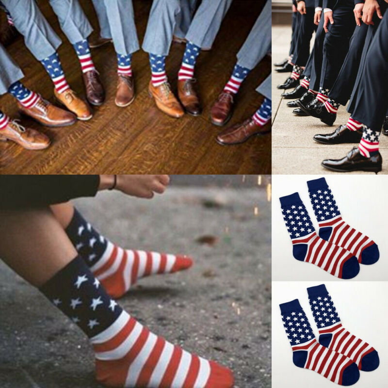 Fashion American Flag Men's Cotton Stars&Stripes USA Sock Old Glory Casual