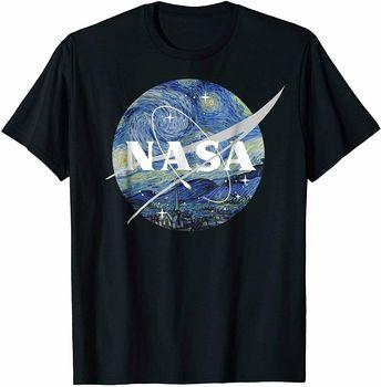 Klasyczna koszulka z Logo gwiaździstej nocy NASA tanie i dobre opinie Daily TR (pochodzenie) Cztery pory roku Z okrągłym kołnierzykiem tops Z KRÓTKIM RĘKAWEM SHORT Short sleeve Z szyfonu