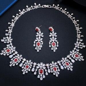 Image 5 - CWWZircons Shiny Cubic Zirkon Große Runde Tropfen Rot Halskette Ohrringe Schmuck Sets für Bräute Hochzeit Prom Kleid Zubehör T361
