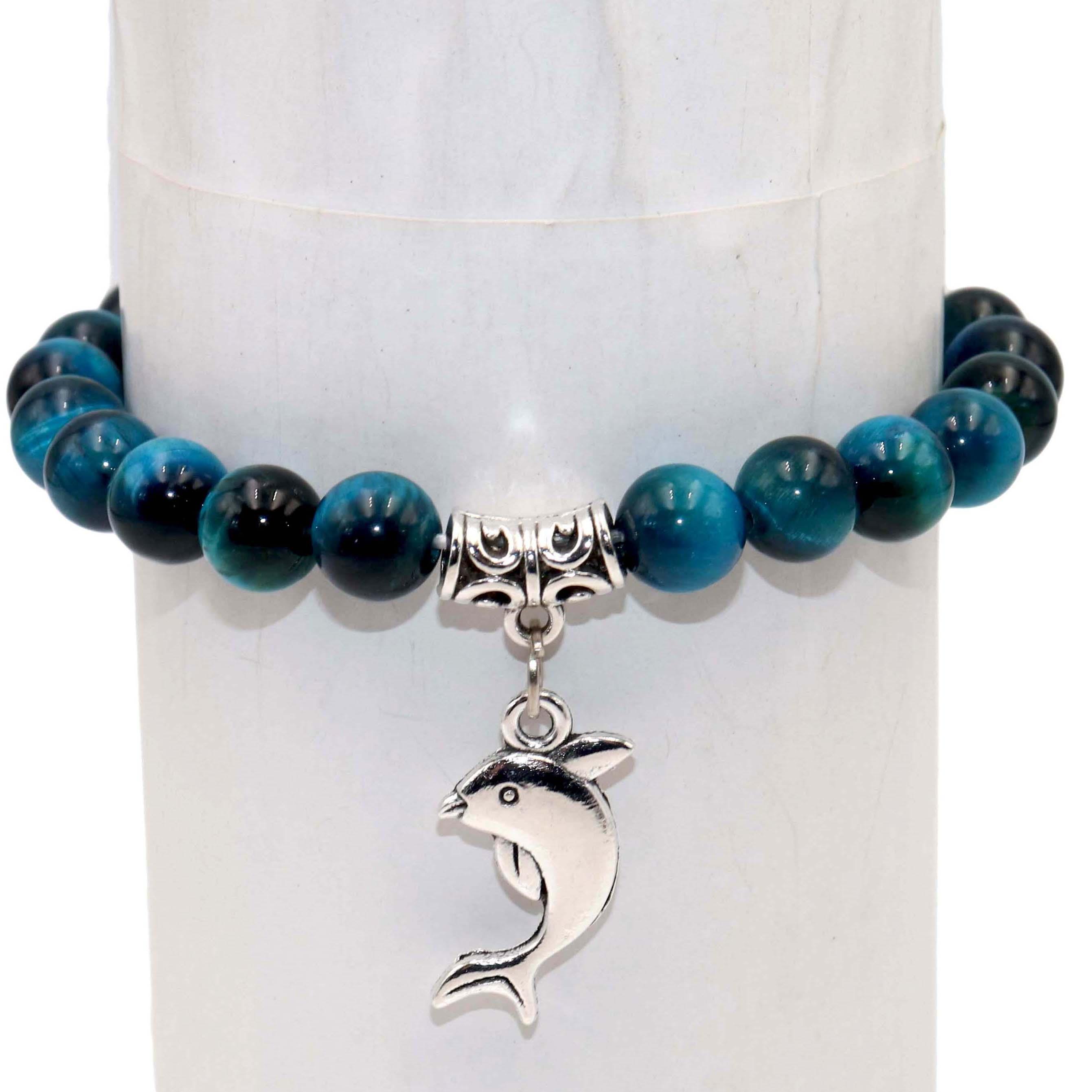 Wholesale Natural Stone Beads Dolphin Tiger Eye Agates Mala Beads Bracelets Bangles Charm For Women Men Yoga Bracelet Femme Gift