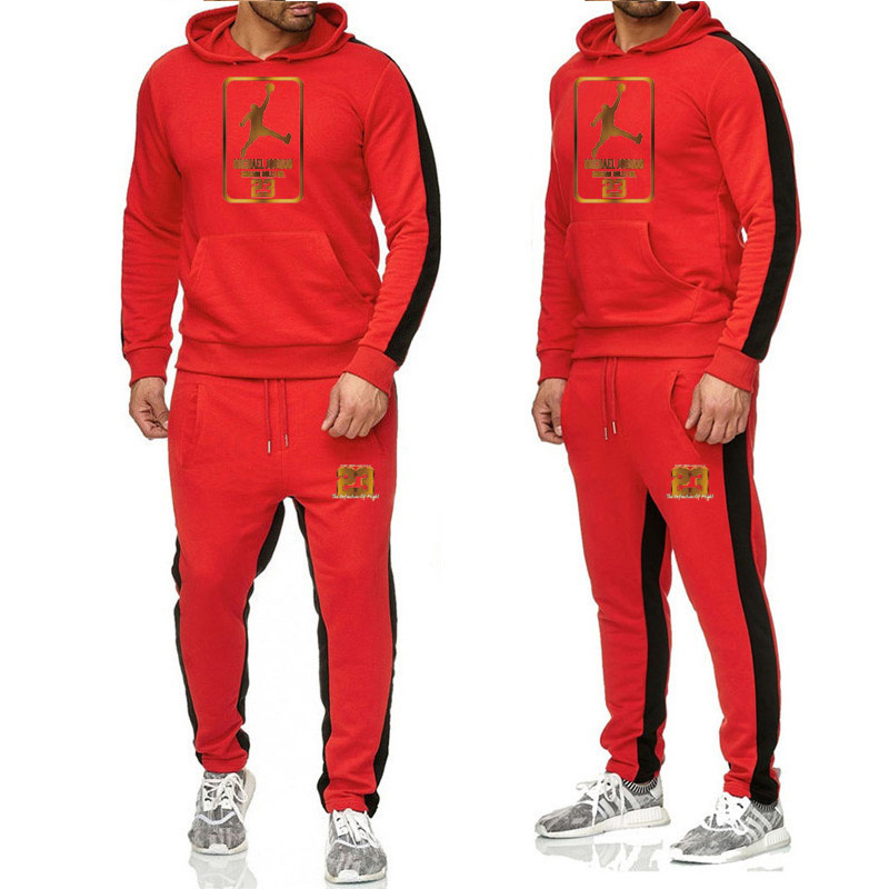 Jordan Printed Jogging Suit Pullover Hoodie Sweatshirt Warm Pants Two Pieces Tracksuit Suit Hoodies Men's Autumn Casual Clothing