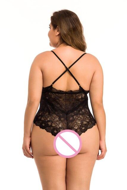 Ellolace Spitze Body Plus Größe für Frauen 4XL Body Unterwäsche Sexy Overalls für Frauen 5