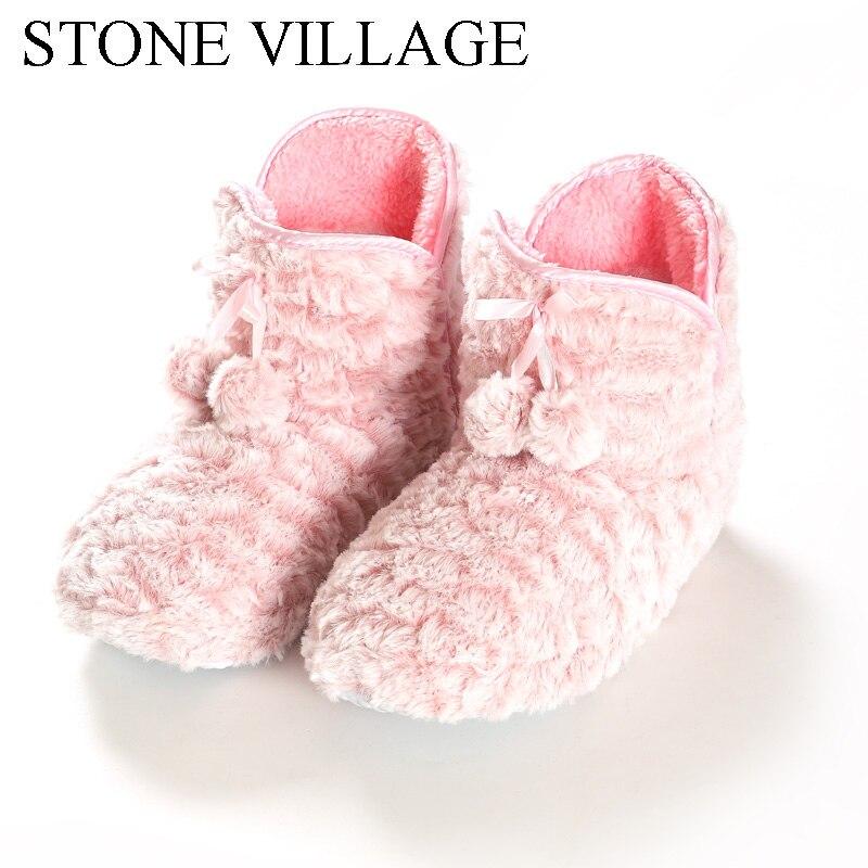 2020 Home Slipper Women Fleece Slippers For Women Indoor Slippers Women Cute Ball Non-slip Indoor Shoes Women Size 36-41 2