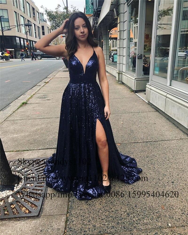 Mbcullyd paillettes bleu marine robes de soirée longue 2020 Sexy fendu robe africaine robes de bal pour les femmes Vestidos de fiesta de noche - 6