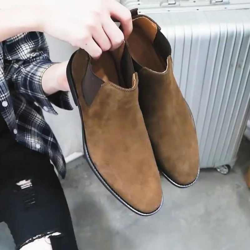 Dropshipping Chelsea Wildleder Leder Luxus Männer Stiefeletten Ursprünglichen Männlichen Kurze Casual Schuhe Britischen Stil Herbst Winter Boot
