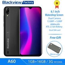 Blackview A60 смартфон с 6,1 дюймовым дисплеем, четырёхъядерным процессором MT6580, ОЗУ 1 ГБ, ПЗУ 16 ГБ, 13 МП, 4080 мАч, Android 8,1