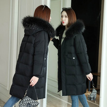 Women Jacket Down Cotton Winter New Fashion Hooded Fur Collar Thick Coat Elegant Snow Parkes for Female
