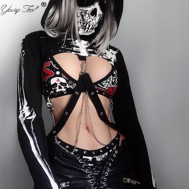 Gothic Punk Dark Hooded Hoodies Women Long Sleeve Skull Print Mask Black Crop Tops 2020 Spring Fashion Short Tops Sweatshirt
