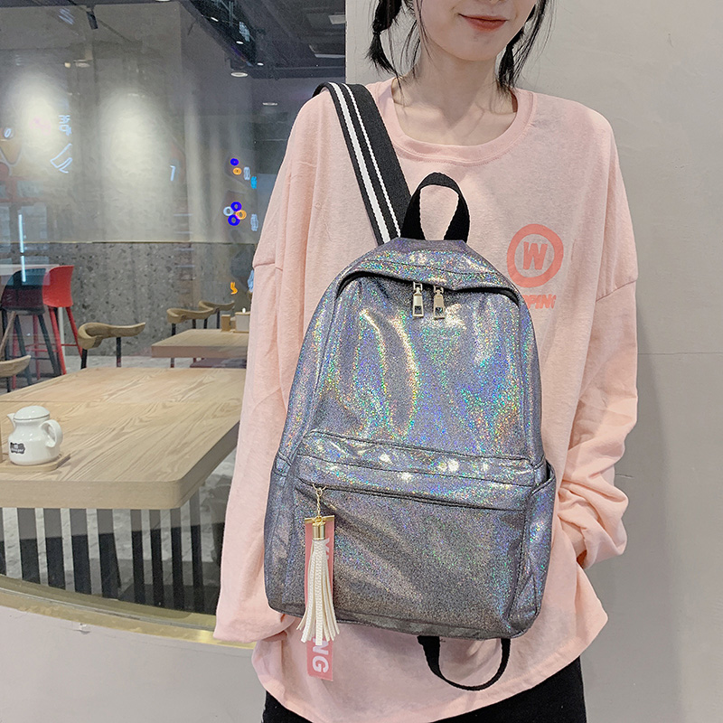 2020 Women Silver Laser Backpack Glitter Bling School Bag Teenage Girls Large Fashion Sequins Rucksack Stundents Bags XA822H