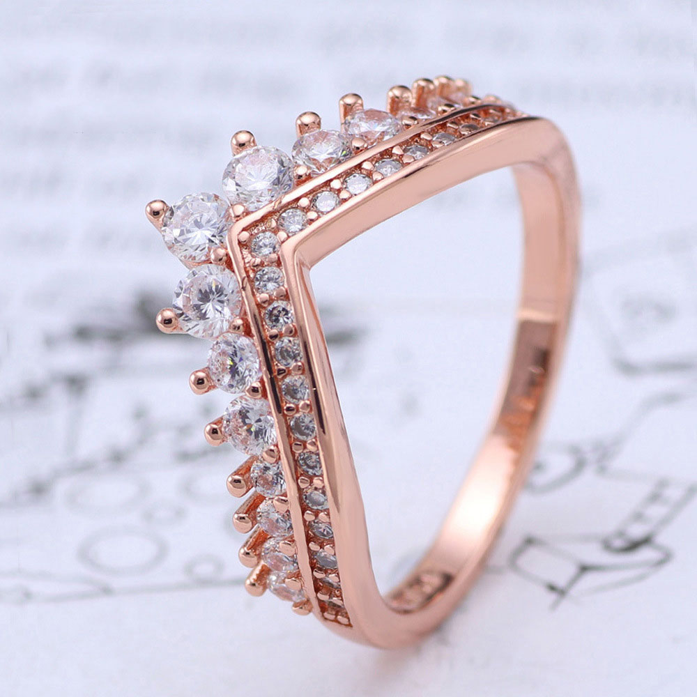 Free Shipping Real 925 Sterling Silver Ring Rose Gold Wishing Bone Wish Glittering Ring For Women's Gift Banquet Jewelry