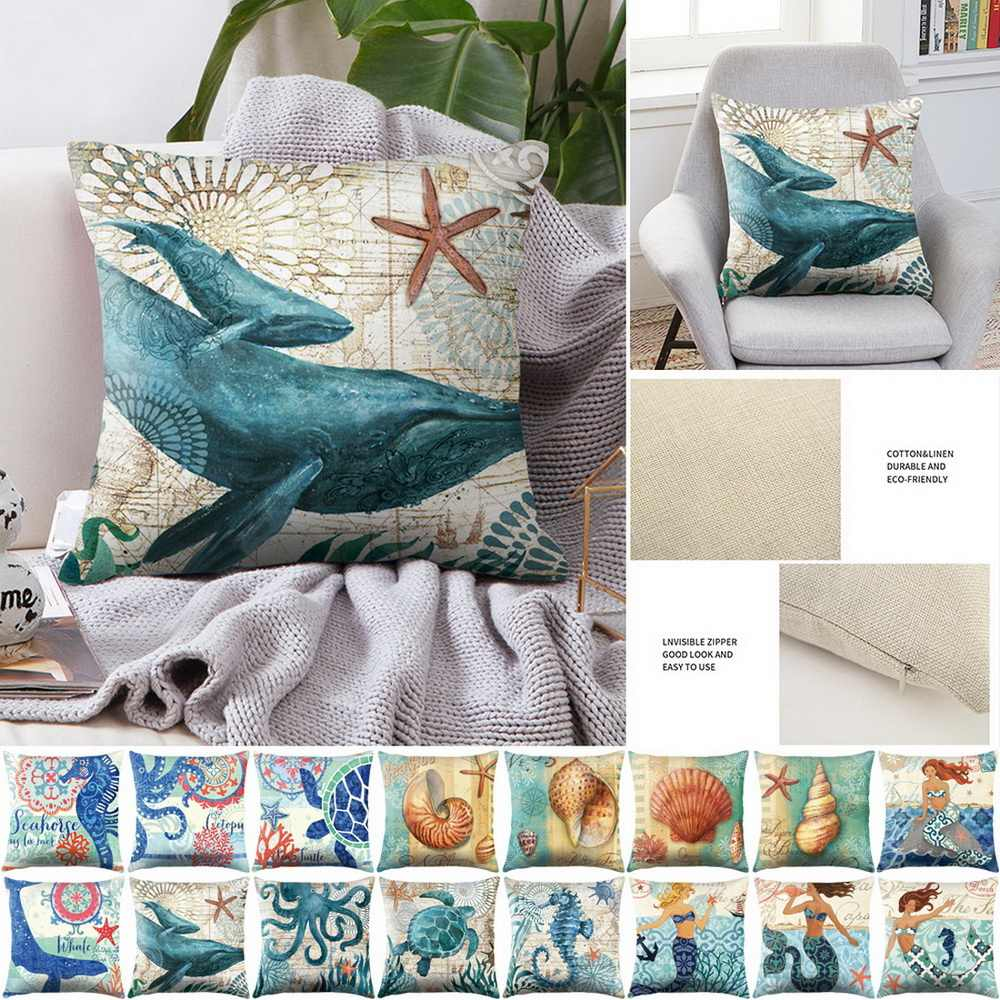 Sea Turtle Laut Mermaid Pola Katun Linen Melempar Bantal Cover Mobil Dekorasi Rumah Sofa Dekoratif Sarung Bantal