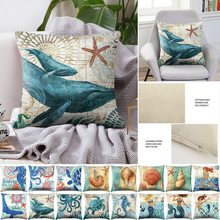 Sea Turtle Laut Mermaid Pola Katun Linen Melempar Bantal Cover Mobil Dekorasi Rumah Sofa Dekoratif Sarung Bantal(China)