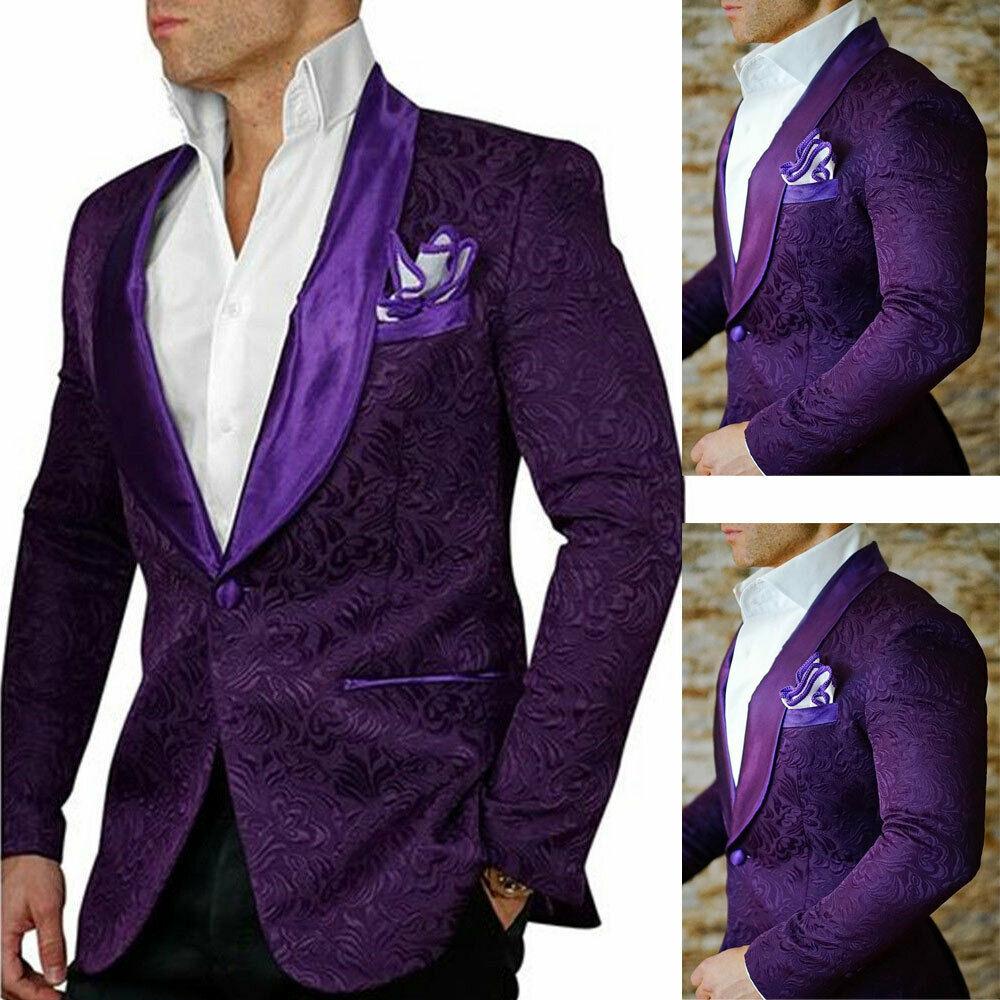 Men's Purple Prom Dinner Blazer Jackets Shawl Lapel Groom Wedding Tuxedos Slim Fit Custom Made