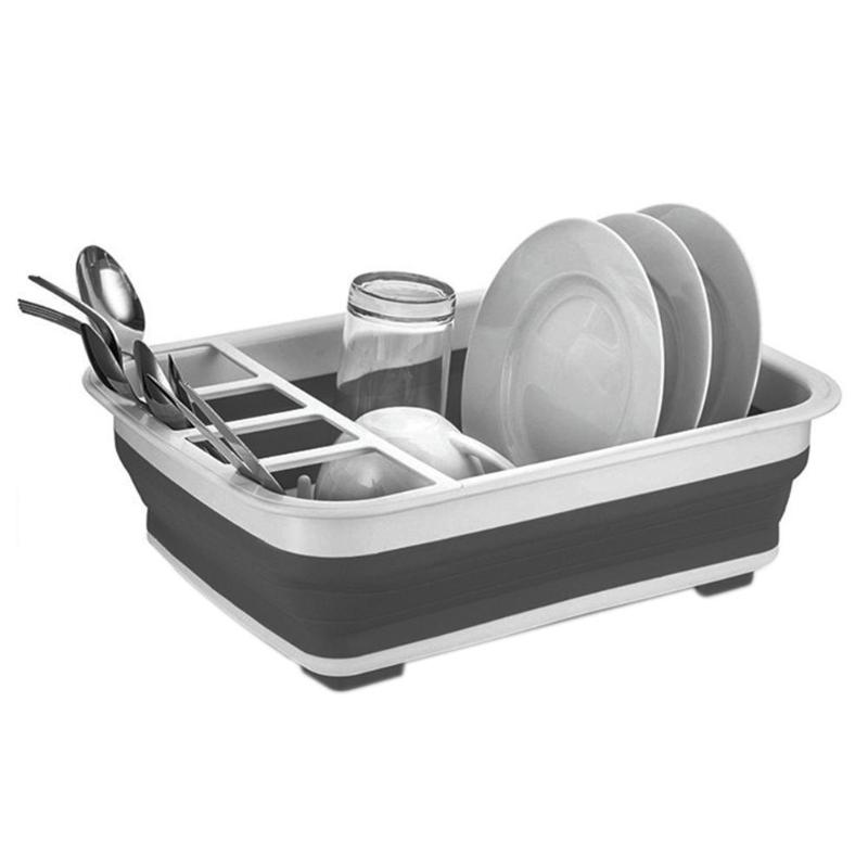 New Foldable Dish Rack House Hold Plastic Folding Kitchen Drain Rack Cutlery Storage Box Collapsible Cutlery Stand