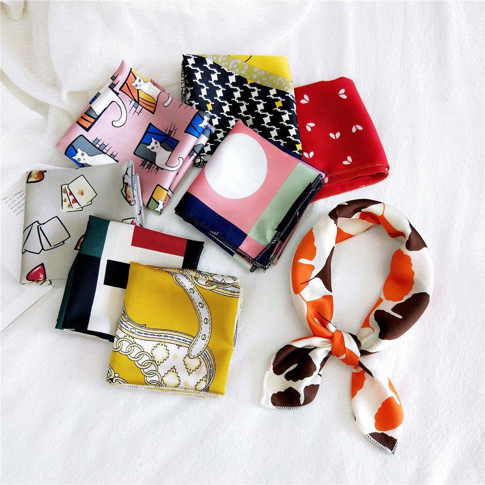 2020 New Women Silk Scarf Square Foulard Neck Scarves Design Printed Head Kerchief Fashion Girl Handkerchief Hair Bandana