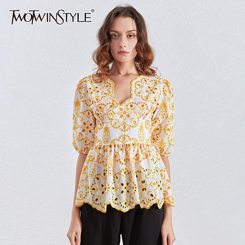 TWOTWINSTYLE Embriodery Floral Tunic Tops Female Puff Short Sleeve V Neck Casual Blouse Shirt Women Fashion Clothes 2020 Summer