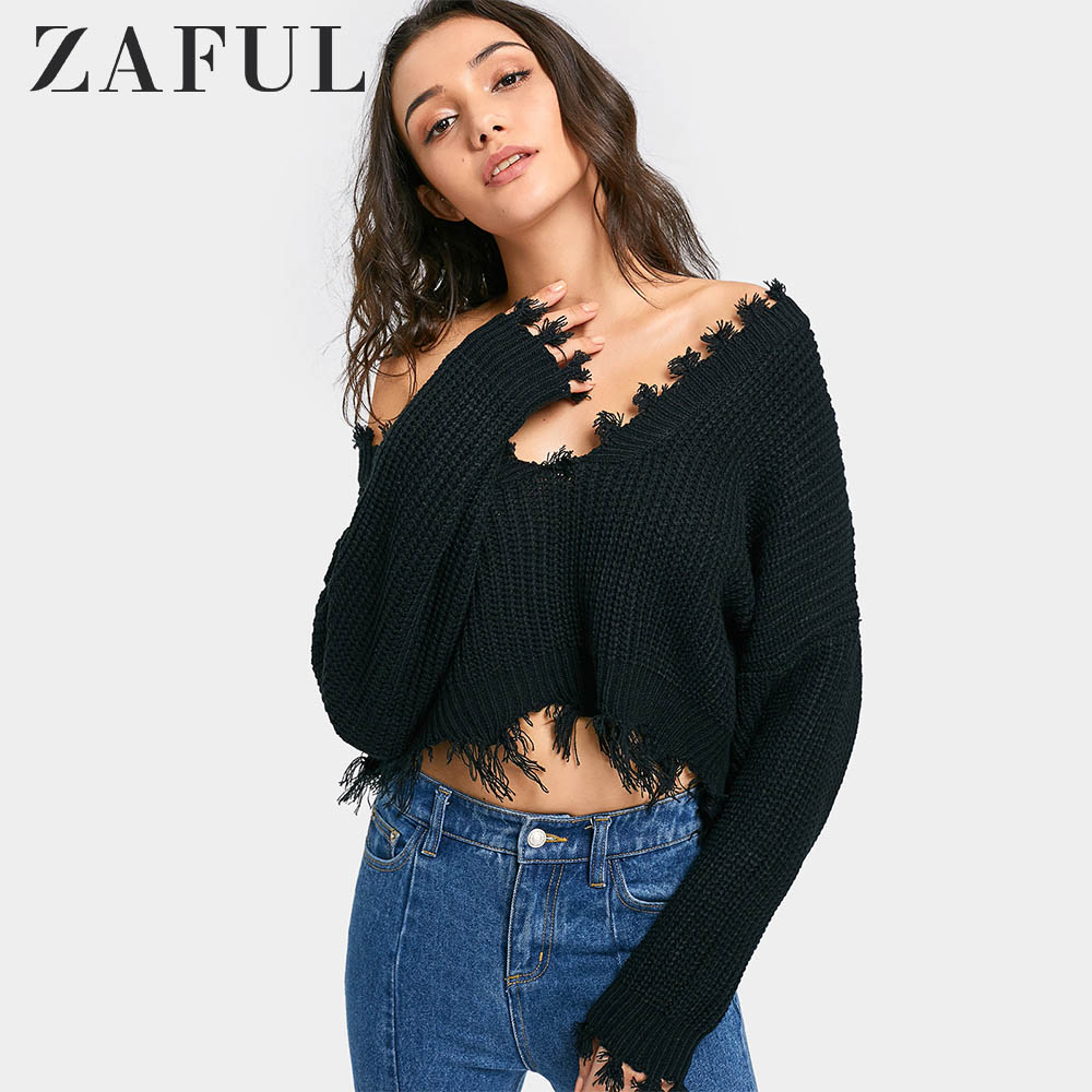 ZAFUL Sweater Frayed Cropped Knit Oversized Pullover Sweater Women Casual Short Pull Femme Crop Top 2018 Ladies Tops Pullovers